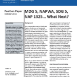 Position Paper: MDG 5, NAPWA, SDG 5, NAP 1325… What Next?