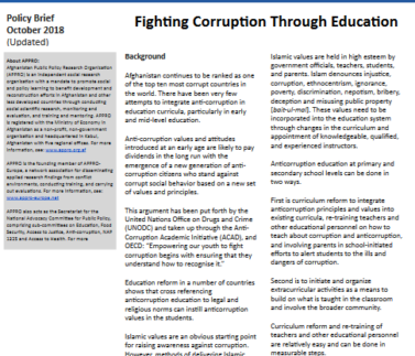 Education and anticrruption